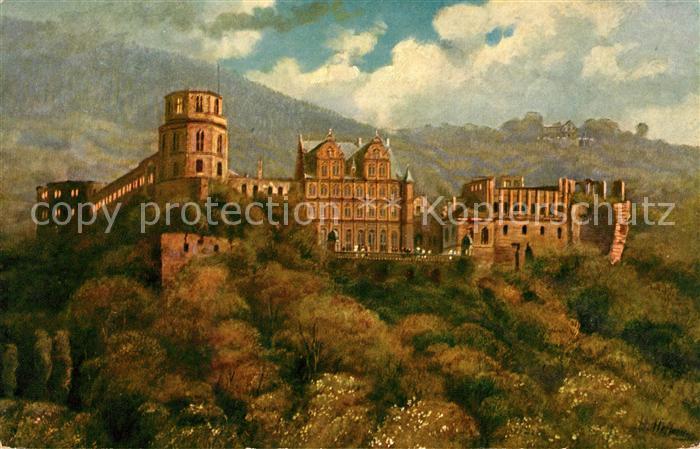 AK / Ansichtskarte Hoffmann Heinrich Heidelberg Schloss von der Hirschgasse  Kat. Kuenstlerkarte