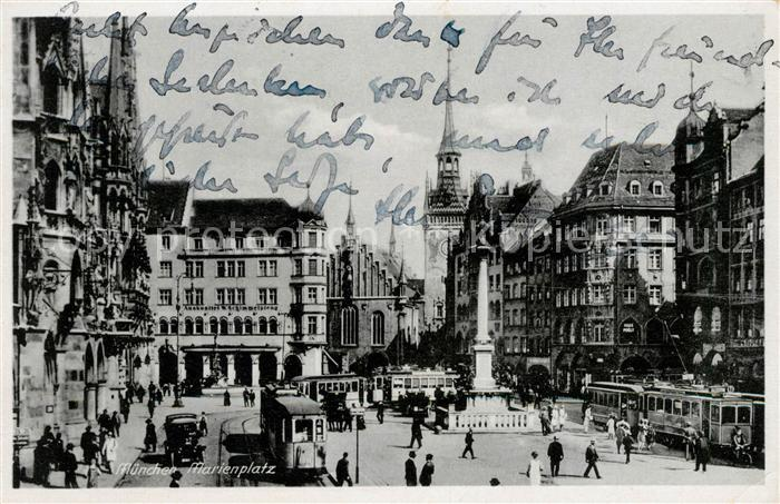 AK / Ansichtskarte Strassenbahn Muenchen Marienplatz  Kat. Strassenbahn 0