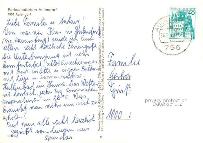 AK / Ansichtskarte Aulendorf Parksanatorium Aulendorf Kat. Aulendorf 1