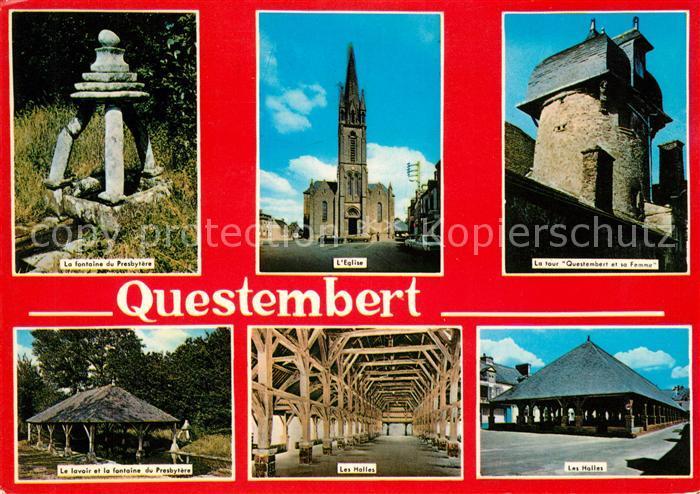 AK / Ansichtskarte Questembert Fontaine du Presbytere Eglise Questembert et sa Femme Le Lavoir Les Halles Kat. Questembert