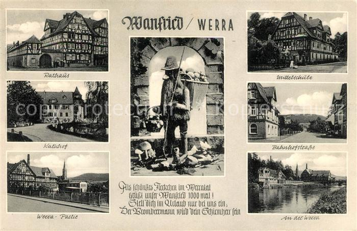 AK / Ansichtskarte Wanfried Rathaus Kalkhof Mittelschule Bahnhofstrasse Partie an der Werra Wanfried Brombeermann Kat. Wanfried