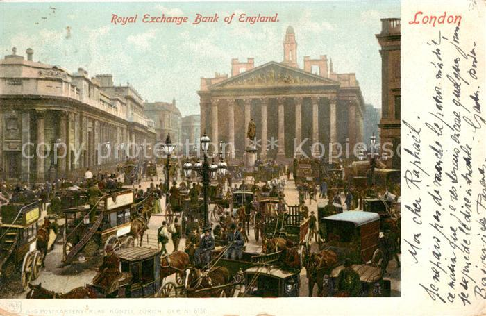 AK / Ansichtskarte London Royal Exchange Bank of England Monument Kat. City of London