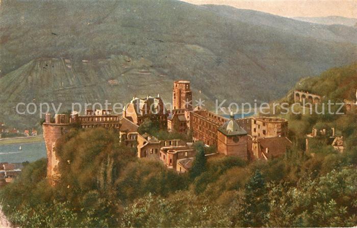 AK / Ansichtskarte Hoffmann Heinrich Heidelberg Schloss von der Molkenkur  Kat. Kuenstlerkarte