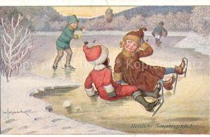 AK / Ansichtskarte Schlittschuhlaufen Eislaufen Kinder Kuenstlerkarte H. Schubert  Kat. Sport