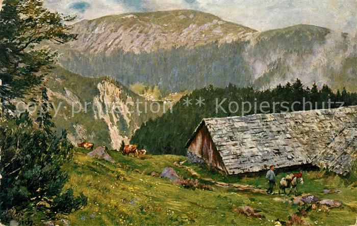 AK / Ansichtskarte Liebich C. Melkerei Kerbholz gegen Spitzkoepfe Kat. Kuenstlerlitho