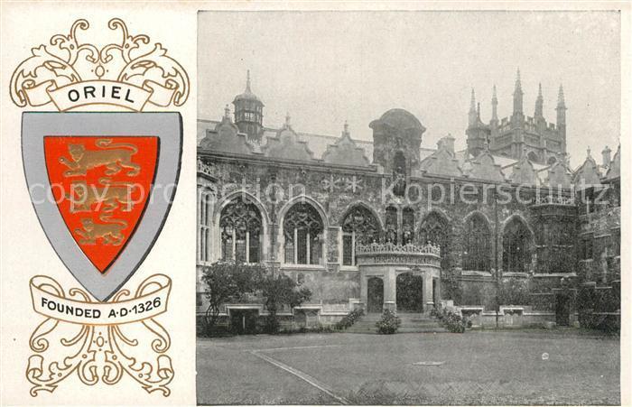 AK / Ansichtskarte Oxford Oxfordshire Oriel College Wappen Kat. Oxford