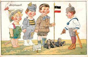 AK / Ansichtskarte Militaria Humor Stiefelappel Kinder Kuenstlerkarte Kat. Humor