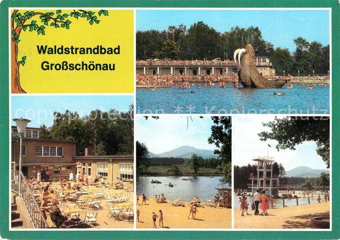 AK / Ansichtskarte Grossschoenau Sachsen Waldstrandbad Teilansichten Terrasse Kat. Grossschoenau Sachsen