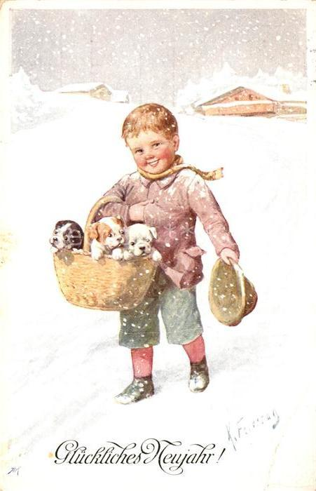 AK / Ansichtskarte Feiertag Karl Neujahr Kind Welpen  Kat. Kuenstlerkarte