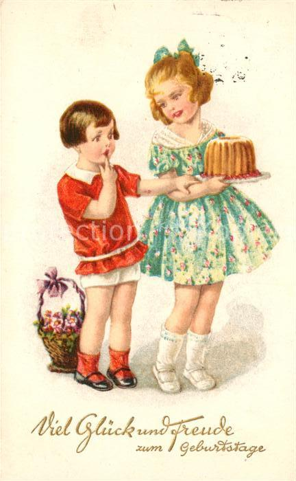 Ak Ansichtskarte Geburtstag Kinder Blumen Kuchen Litho Kat