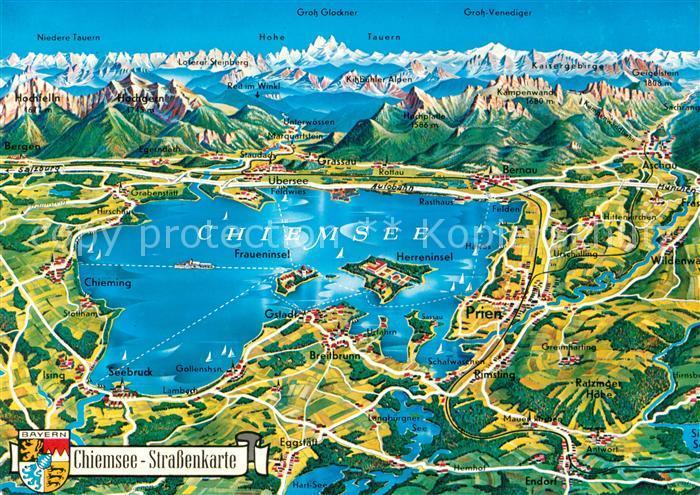 AK / Ansichtskarte Chiemsee Strassenkarte Kat. Chiemsee