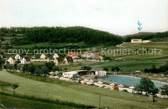 AK / Ansichtskarte Koenigstein Oberpfalz Schwimmbad mit Siedlung und Erholungsheim Fraenkische Alb Kat. Koenigstein
