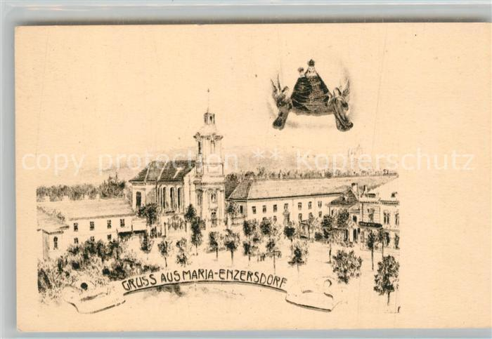 AK / Ansichtskarte Maria Enzersdorf Ortsmotiv mit Kirche Gnadenbild Kuenstlerkarte Kat. Maria Enzersdorf