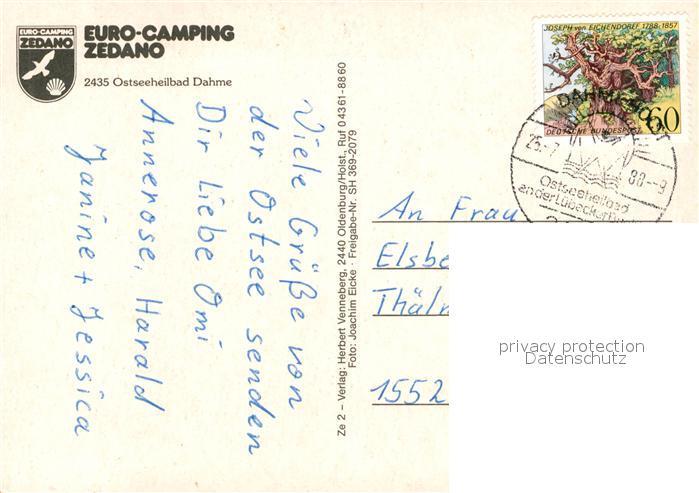 AK / Ansichtskarte Dahme Ostseebad Fliegeraufnahme Euro Camping Zedano Kat. Dahme 1
