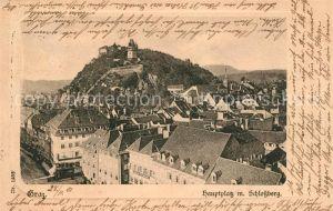 AK / Ansichtskarte Graz Steiermark Hauptplatz mit Schlossberg Uhrturm Kat. Graz