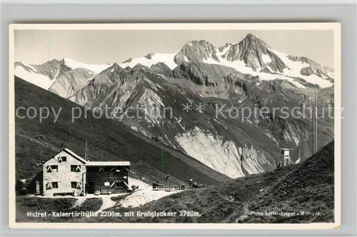AK / Ansichtskarte Matrei Osttirol Kalsertoerlhuette Berghuette mit Grossglockner Hohe Tauern Kat. Matrei in Osttirol