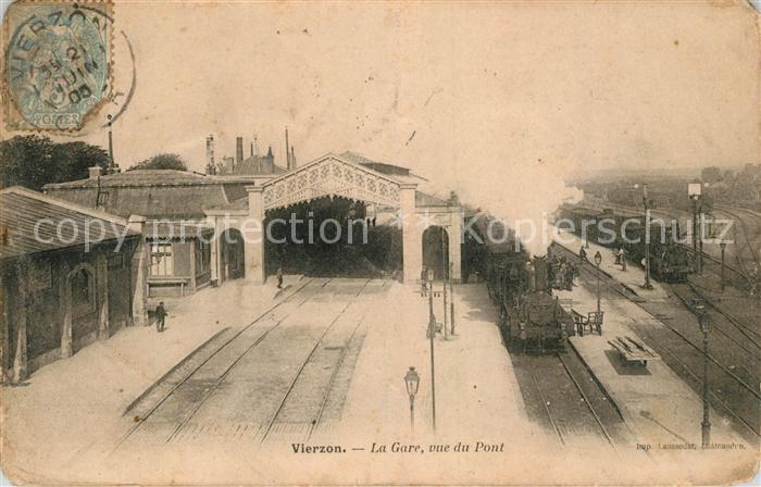 AK / Ansichtskarte Vierzon La Gare Chemin de Fer Train vue du pont Kat. Vierzon