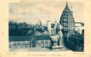 AK / Ansichtskarte Exposition Coloniale Internationale Paris 1931 Temple d Angkor Vat Lion et Tour  Kat. Expositions
