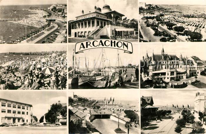 AK / Ansichtskarte Arcachon Gironde La Plage et les Jetees La Poste Le Casino Mauresque Les Sardiniers Le Passage Souterrain Place Tiers Kat. Arcachon