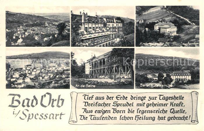 AK / Ansichtskarte Bad Orb Teilansicht Kurhaus Kinderheilanstalt Teilansicht Saline Sanatorium Kuppelemuehle Kat. Bad Orb