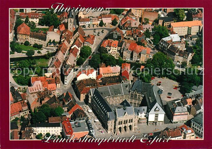 AK / Ansichtskarte Erfurt Fliegeraufnahme Rathaus Fischmarkt Kraemerbruecke Kat. Erfurt
