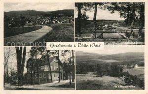 AK / Ansichtskarte Geschwenda Landstrasse Waldbad Freibad Zum Kickelhaehnchen Landschaftspanorama Kat. Geschwenda