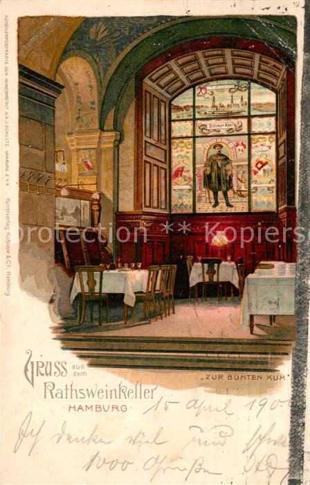 AK / Ansichtskarte Hamburg Rathsweinkeller Zur Bunten Kuh Gaststaette Restaurant Fensterbild Kat. Hamburg