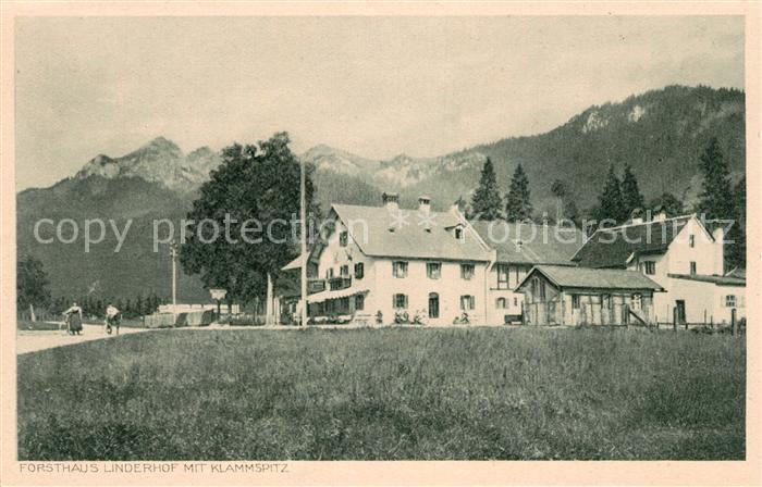 AK / Ansichtskarte Linderhof Ettal Forsthaus mit Klammspitze Ammergauer Alpen Kat. Ettal