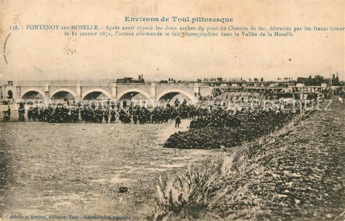 AK / Ansichtskarte Fontenoy sur Moselle Pont du Chemin de fer apres la reparation Kat. Fontenoy sur Moselle