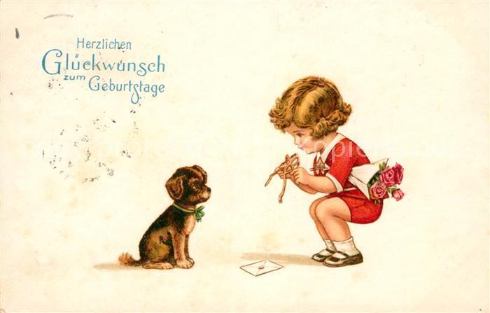 Ak Ansichtskarte Hunde Welpe Kind Geburtstag Rosen Litho Kat