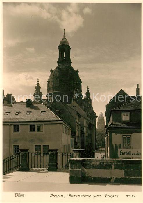 AK / Ansichtskarte Foto Hahn Nr. 10787 Dresden Frauenkirche Rathaus Kat. Fotografie