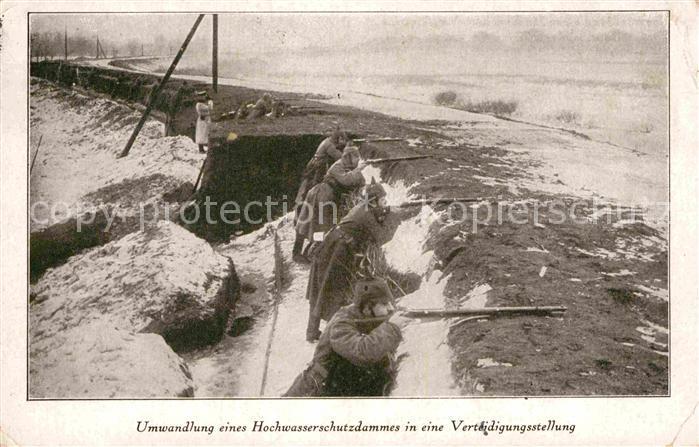 AK / Ansichtskarte Militaria Schuetzengraben Bromberg Hochwasserschutzdamm Verteidigungsstellung Winter WK1