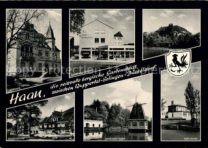 AK / Ansichtskarte Haan Rheinland Rathaus Sparkasse Kaiserstrasse Heidberger Muehle Kath Kirche Kat. Haan