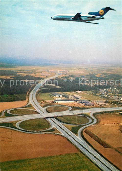 AK / Ansichtskarte Lufthansa Flughafen Koeln Bonn Autobahnkreuz Fliegeraufnahme Kat. Flug