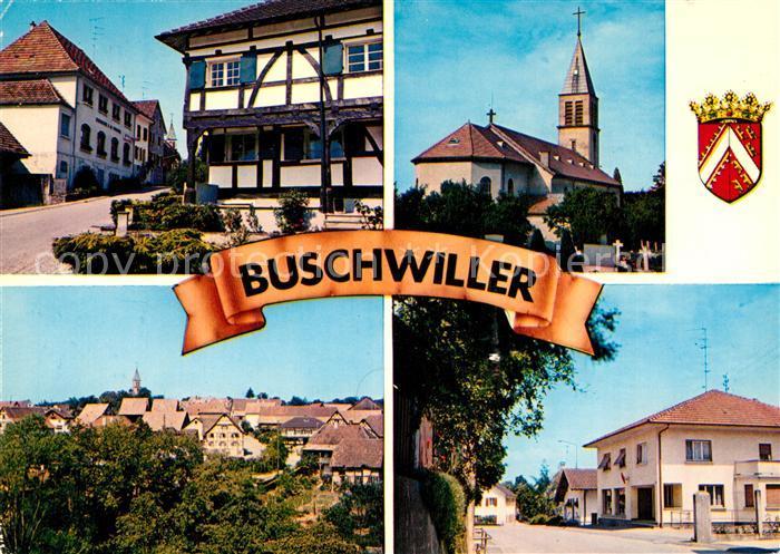 AK / Ansichtskarte Buschwiller Kirche Rue de Wentzwiller Rue des Vosges Kat. Buschwiller