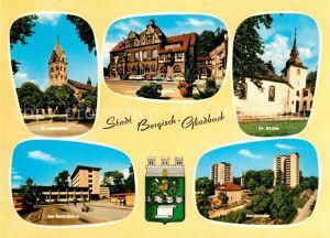 AK / Ansichtskarte Bergisch Gladbach Sankt Laurentius Rathaus Busbahnhof Evangelische Kirche Hochhaeuser Kat. Bergisch Gladbach
