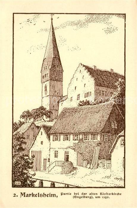 Markelsheim Partie bei der alten Klosterkirche Federzeichnung von G. Wedepohl Serie Perlen aus dem Frankenland Kuenstlerkarte Kat. Bad Mergentheim