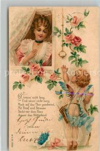 Engel Amor Rosen Gedicht Litho  Kat. Religion