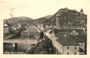 AK / Ansichtskarte Graz Steiermark Stadtpanorama mit 3 Bruecken Schlossberg Uhrturm Kat. Graz