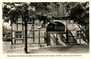 Alhausen Westfalen Geburtshaus des Dichters Friedr Wilh Weber Kat. Bad Driburg