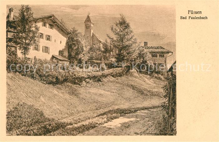 AK / Ansichtskarte Bad Faulenbach Blick zur Kirche Kuenstlerkarte Kat. Fuessen