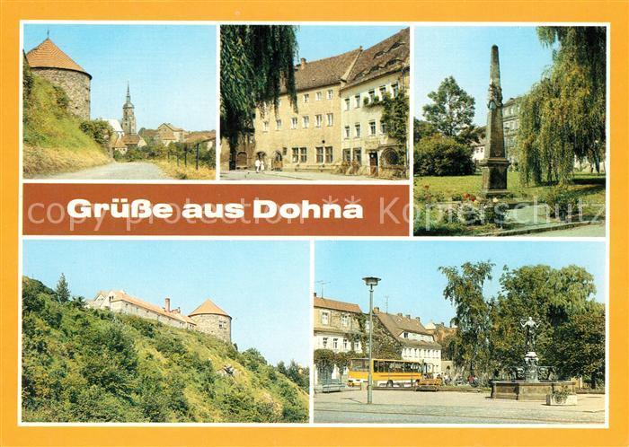 AK / Ansichtskarte Dohna Sachsen Ratskeller Apotheke Burg Markt Kat. Dohna Sachsen