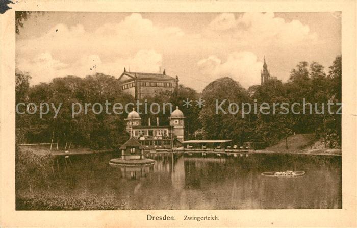 AK / Ansichtskarte Dresden Zwingerteich Kat. Dresden Elbe