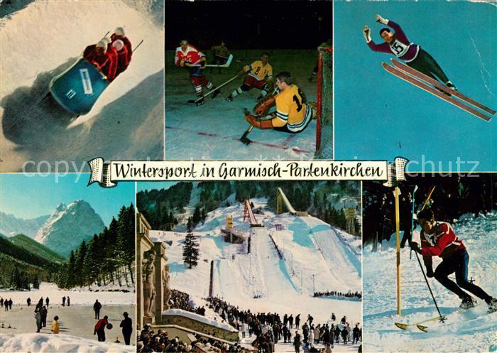 AK / Ansichtskarte Wintersport Garmisch Partenkirchen Skispringen Eishockey Bobsport  Kat. Sport