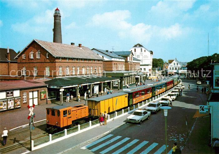 AK / Ansichtskarte Eisenbahn Insel Borkum Bahnhof  Kat. Eisenbahn