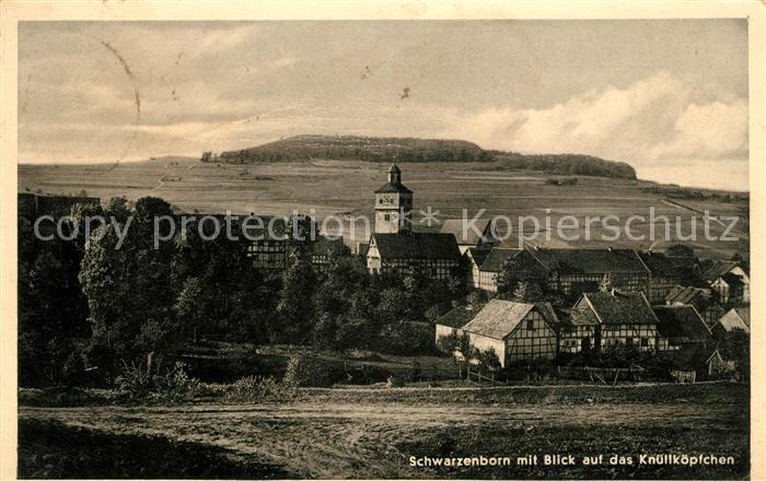 AK / Ansichtskarte Schwarzenborn Knuell Ortsansicht mit Kirche Blick auf das Knuellkoepfchen Knuellgebirge Kat. Schwarzenborn