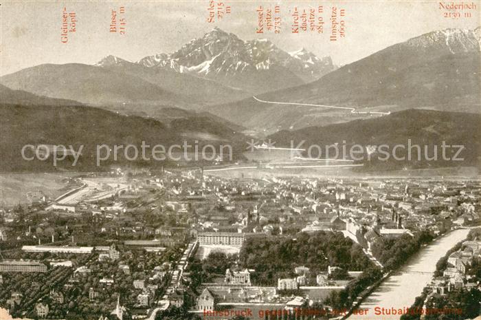 AK / Ansichtskarte Innsbruck Blick gegen Sueden gegen Stubaitalbahnlinie Alpenpanorama Kat. Innsbruck