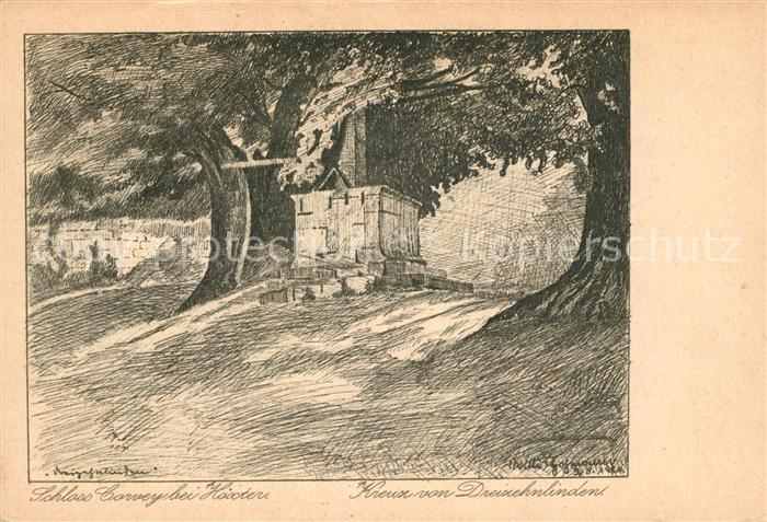AK / Ansichtskarte Hoexter Weser Schloss Corvey Kreuz von Dreizehnlinden Federzeichnung von Willi Hohmann Kuenstlerkarte Kat. Hoexter