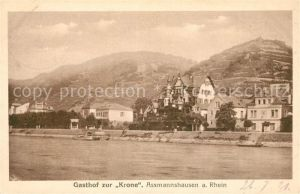 AK / Ansichtskarte Assmannshausen Rhein Gasthof zur Krone Kat. Ruedesheim am Rhein