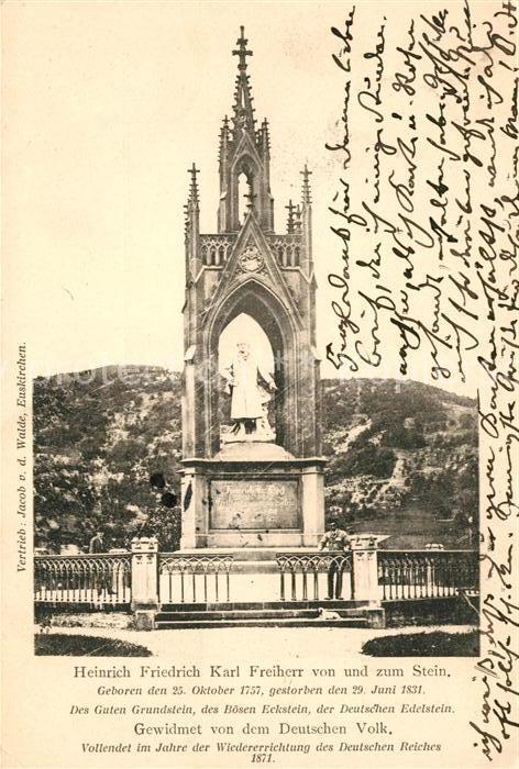 AK / Ansichtskarte Nassau Lahn Heinrich Friedrich Karl Freiherr von und zum Stein Denkmal Kat. Nassau